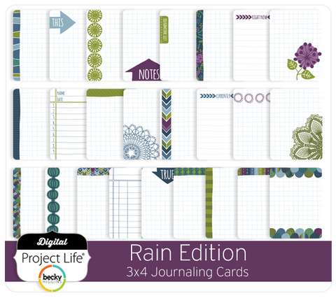 Rain Edition 3x4 Journaling Cards