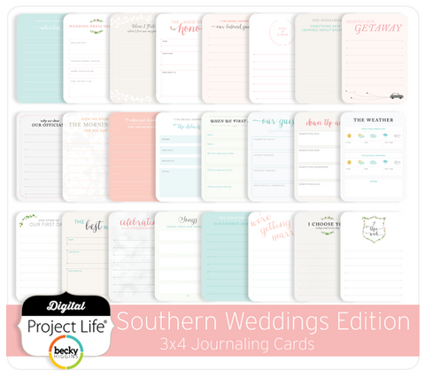 Southern Weddings 3x4 Journaling Cards