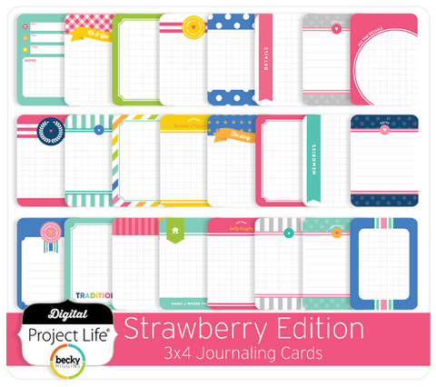 Strawberry Edition 3x4 Journaling Cards