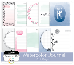 project life digital watercolor journal 6x8 pages digitalprojectlife - Watercolor Pages