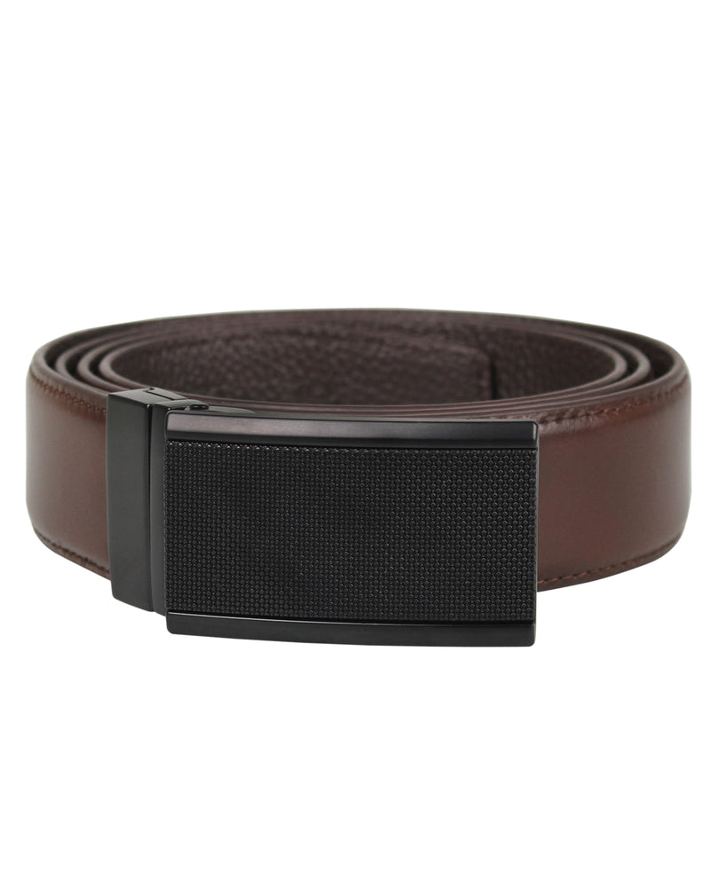 Tomaz 1645 Plaque Leather Belt (Coffee)