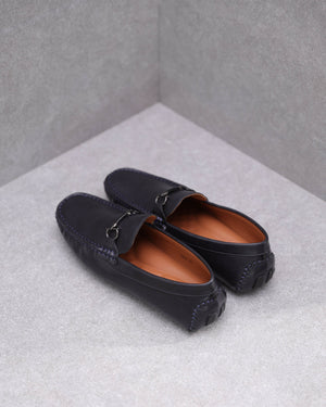 Load image into Gallery viewer, Tomaz C473 Metal Buckle Moccasins (Navy)
