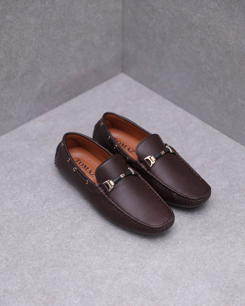 Load image into Gallery viewer, Tomaz C394 Gold Buckle Moccasins (Coffee)