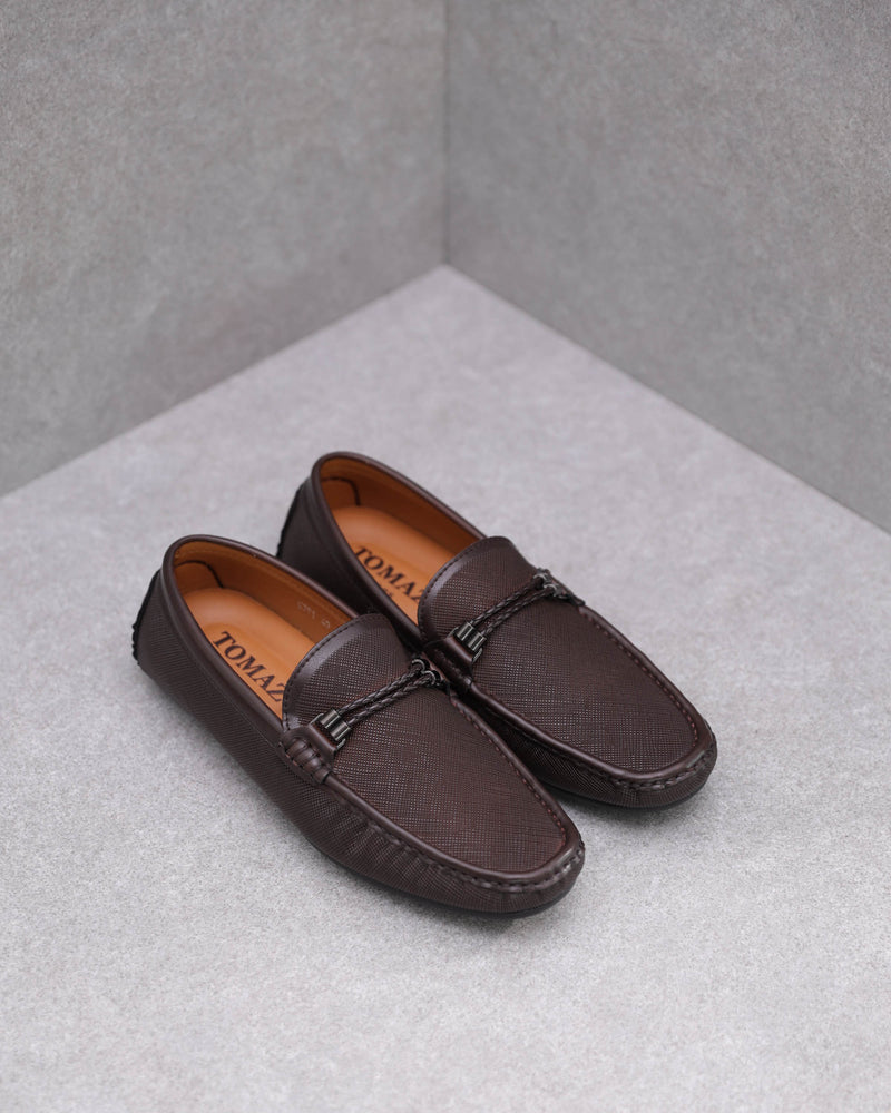 Tomaz C391 Braided Buckle Moccasins (Coffee)