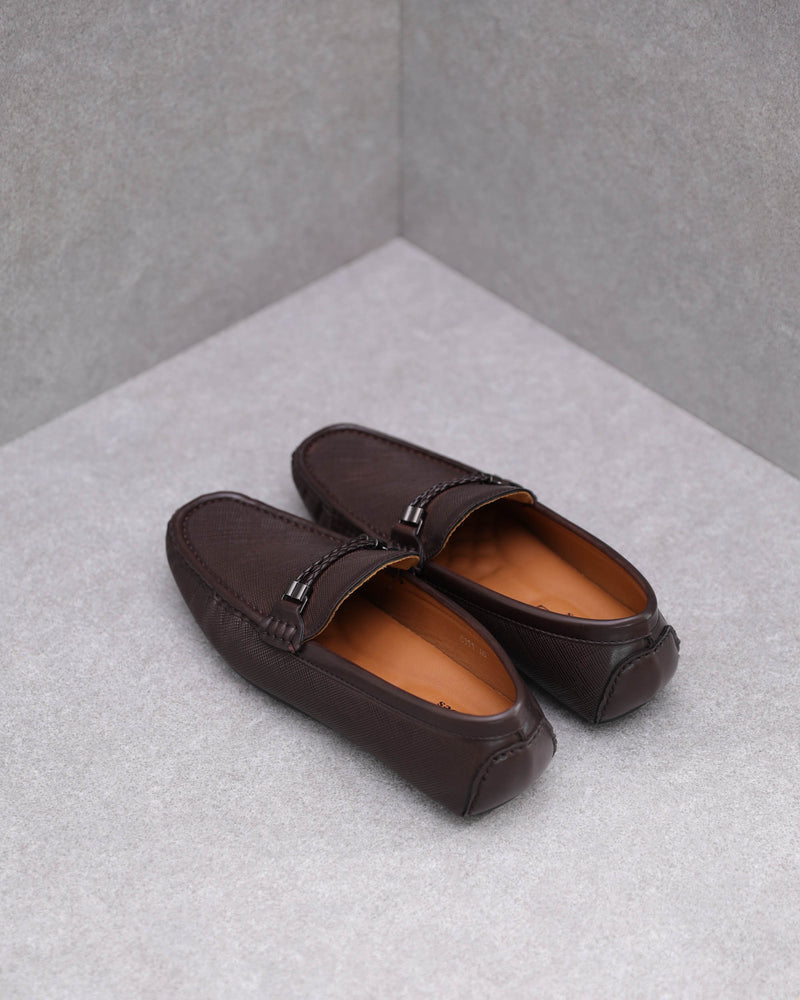Load image into Gallery viewer, Tomaz C391 Braided Buckle Moccasins (Coffee)