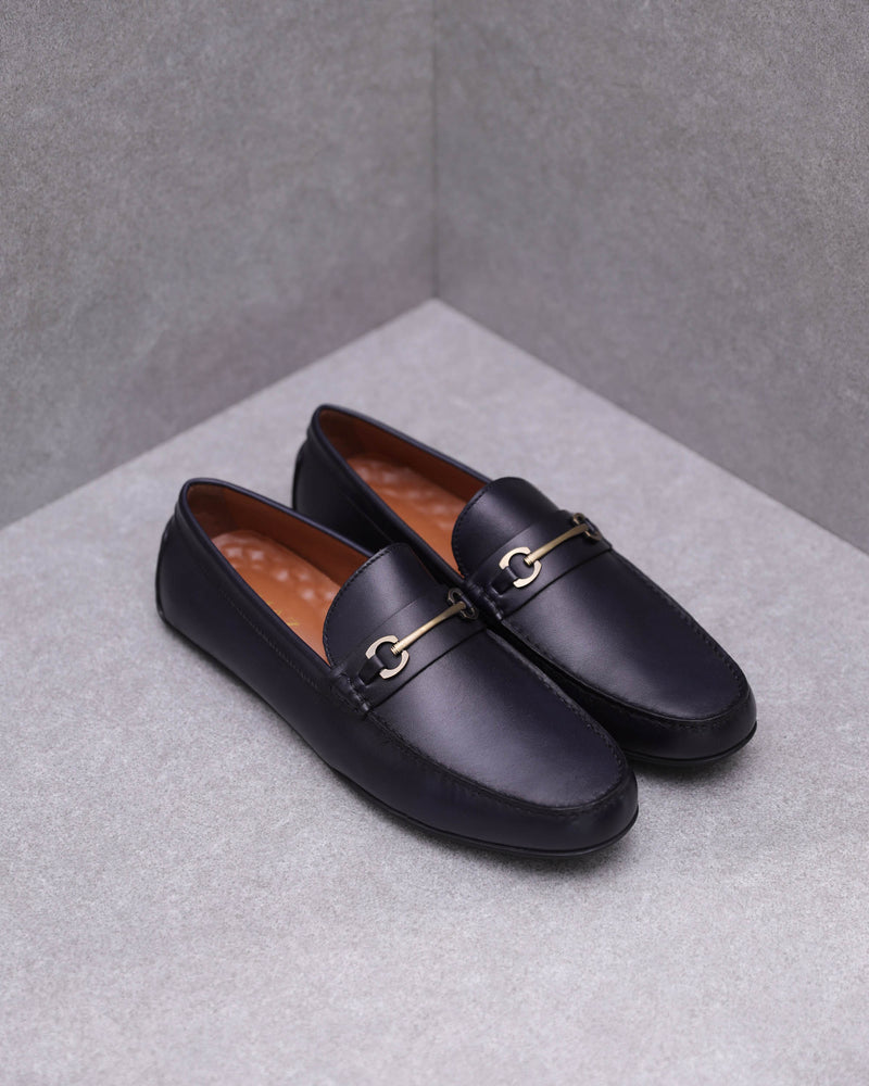 Tomaz BF478 Metal Buckle Moccasins (Navy)