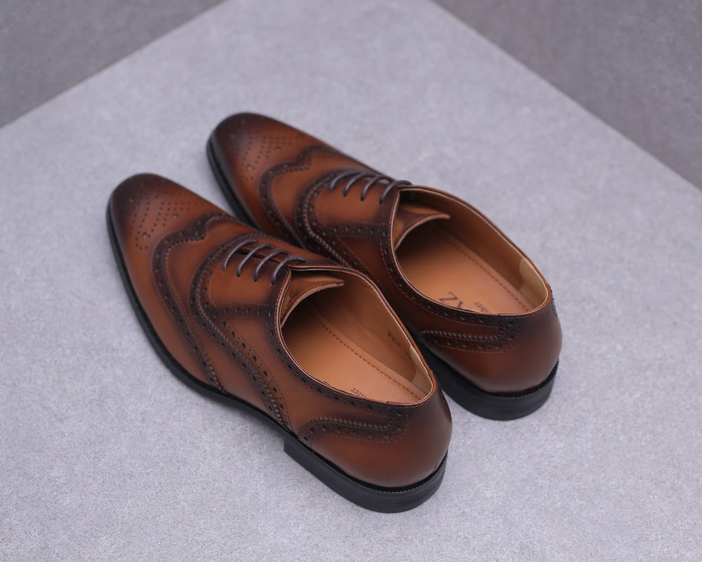 Load image into Gallery viewer, Tomaz F231 Wingtip Brogues Lace Up (Brown)