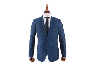 Tomaz 8108 Chekered Slim Fit Blazer (Navy) - Tomaz Shoes