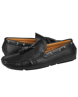 Load image into Gallery viewer, Tomaz C395 Leather Tassel Moccasins (Black)