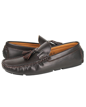 Load image into Gallery viewer, Tomaz C004B Buckled Tassel Moccasins (Coffee)