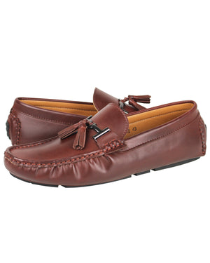 Load image into Gallery viewer, Tomaz C004B Buckled Tassel Moccasins (Brown)