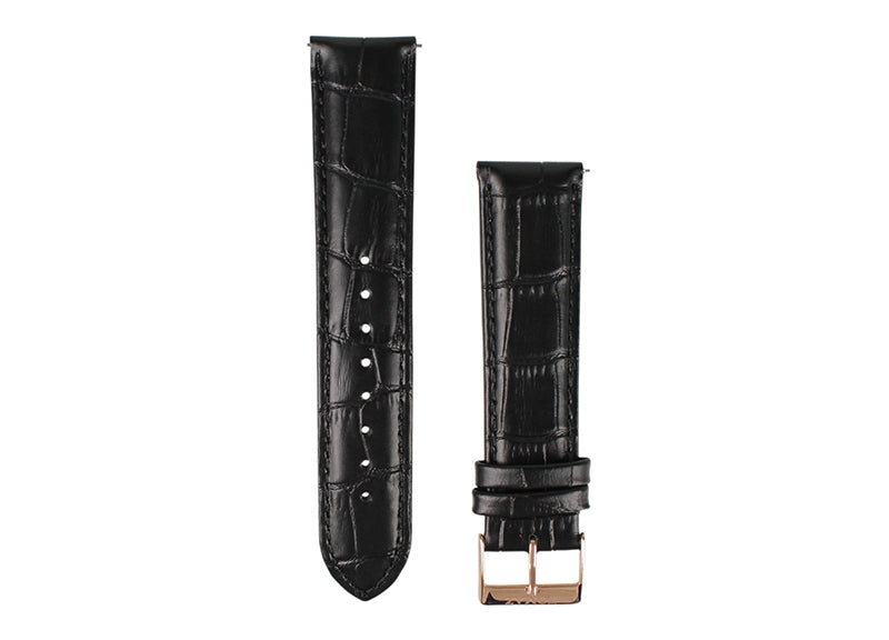 Tomaz 22mm Leather Watch Strap - Bamboo (Black) - Tomaz Shoes (1324191940697)