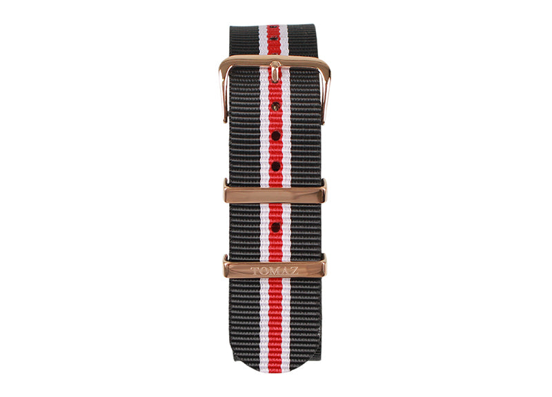Tomaz 22mm Nylon Watch Strap (BlackRed/Gold) - Tomaz Shoes (1320712274009)