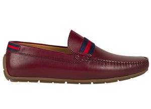 Tomaz C331 Striped Penny Loafers (Wine) - Tomaz Shoes