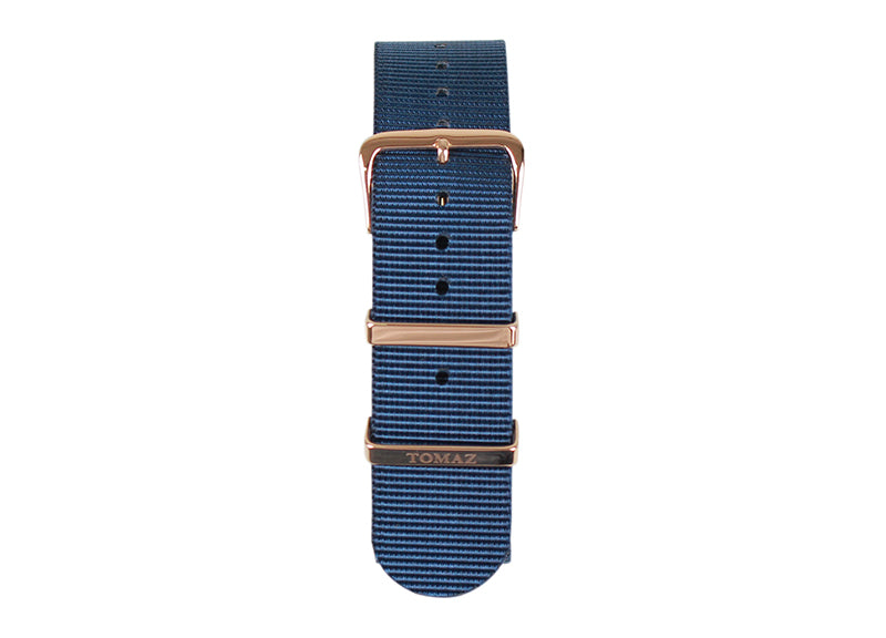 Tomaz 22mm Nylon Watch Strap (Navy/Gold) - Tomaz Shoes (1320147353689)