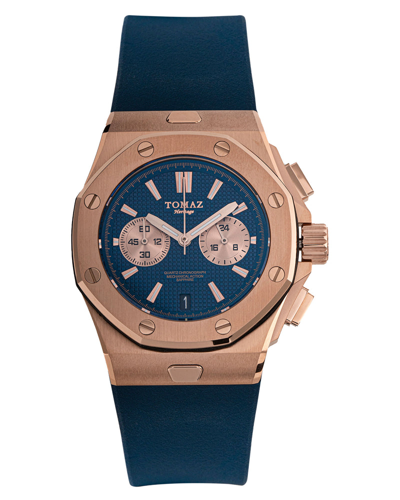Tomaz TQ011-D1 Men's Watch (RoseGold/Navy) best men watch, automatic watch for men, Trending men watch, Luxury watch, Watches of Switzerland, automatic watch for men, jam tangan lelaki, jam tangan automatik, jam kronograf