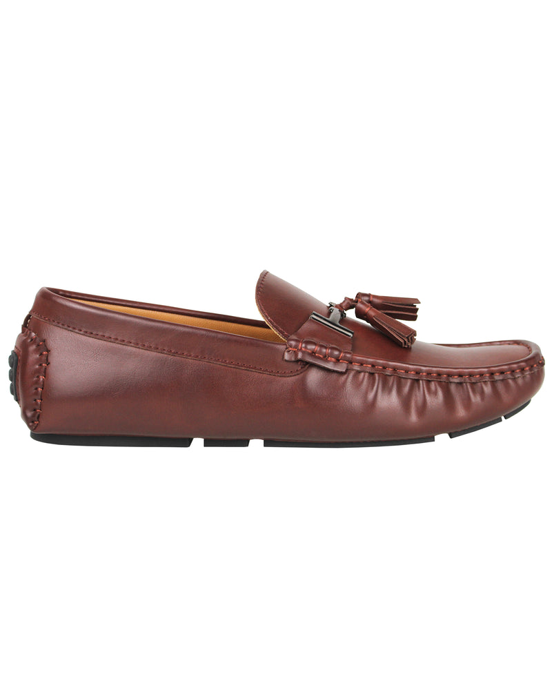 Tomaz C004B Buckled Tassel Moccasins (Brown)