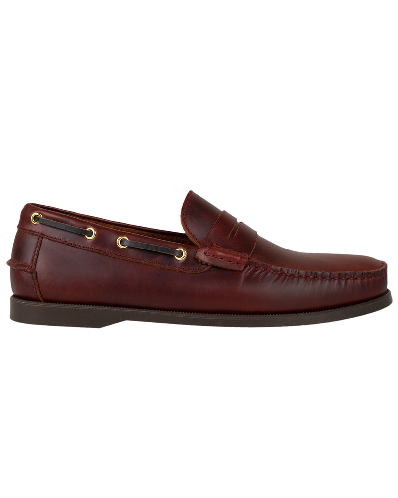 Tomaz C329 Leather Penny Loafers (Wine)