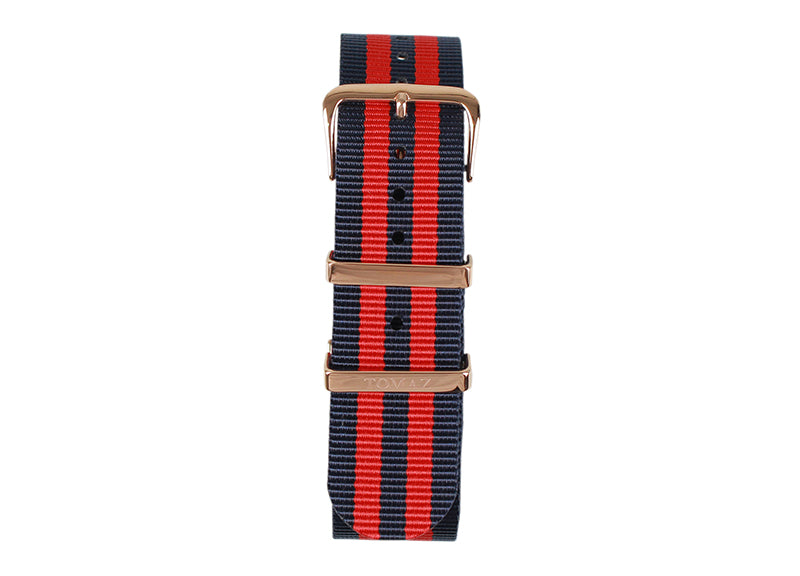 Tomaz 22mm Nylon Watch Strap (RedNavy/Gold) - Tomaz Shoes (1320718925913)