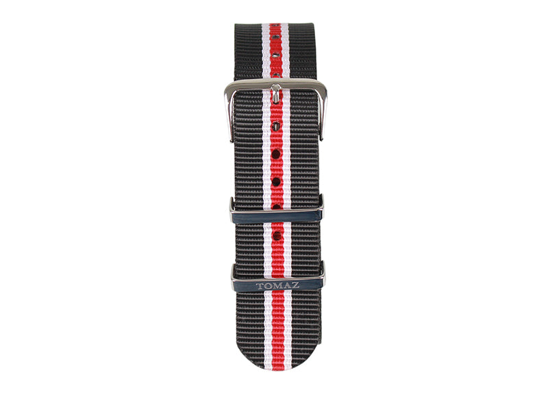 Tomaz 22mm Nylon Watch Strap (BlackRed/Silver) - Tomaz Shoes (1320712994905)
