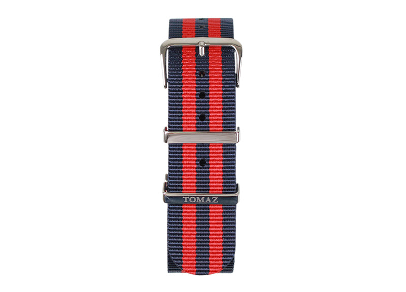 Tomaz 22mm Nylon Watch Strap (RedNavy/Silver) - Tomaz Shoes (1320718467161)