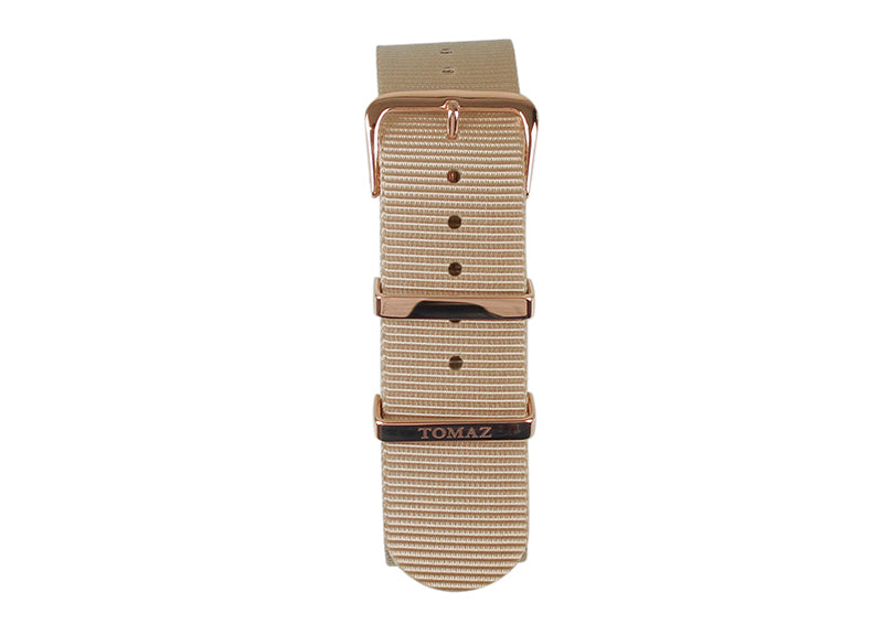 Tomaz 22mm Nylon Watch Strap (Beige/Gold) - Tomaz Shoes (1320108458073)