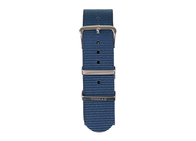 Tomaz 22mm Nylon Watch Strap (Navy/Silver) - Tomaz Shoes (1320153153625)