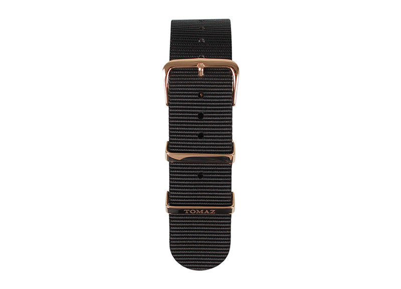 Tomaz 22mm Nylon Watch Strap (Black/Gold) - Tomaz Shoes (1318898368601)