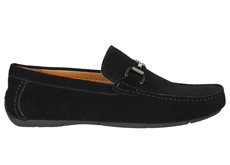 Load image into Gallery viewer, Tomaz C338 Front Buckled Suede Loafers (Black) - Tomaz Shoes (791574118489)