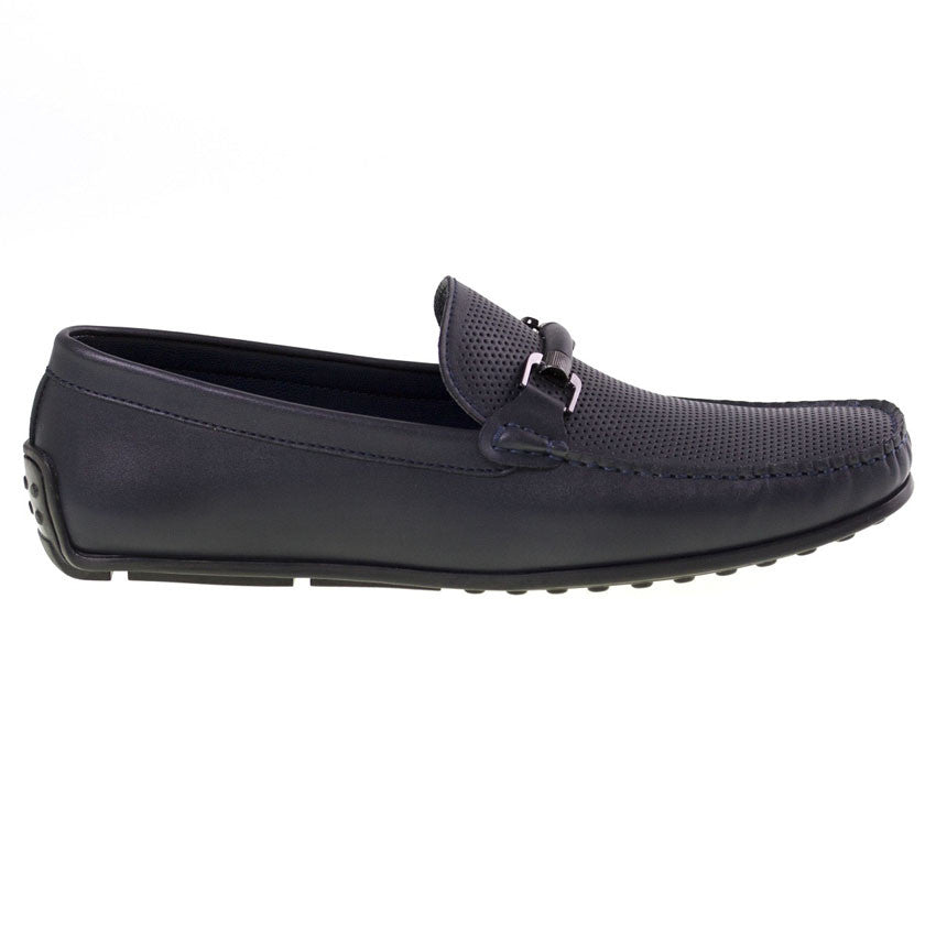 Tomaz BF003 Perforated Buckle Loafers (Navy) - Tomaz Shoes (8852038600)