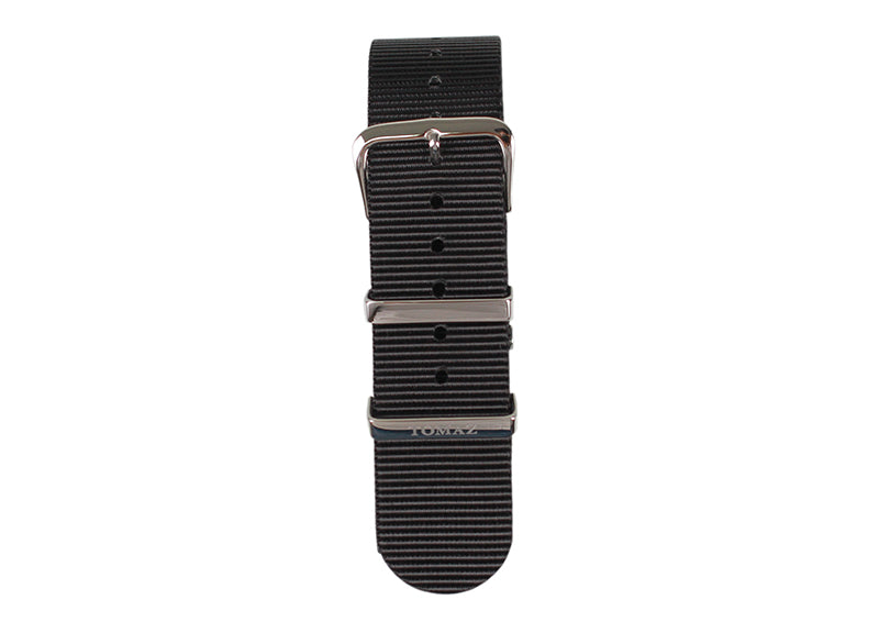 Tomaz 22mm Nylon Watch Strap (Black/Silver) - Tomaz Shoes (1318897352793)