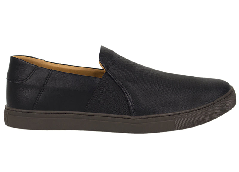 Tomaz TR262 Mens Sneakers Slip On (Black) (425294037021)
