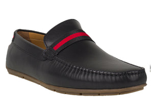 Tomaz C331 Striped Penny Loafers (Black) - Tomaz Shoes