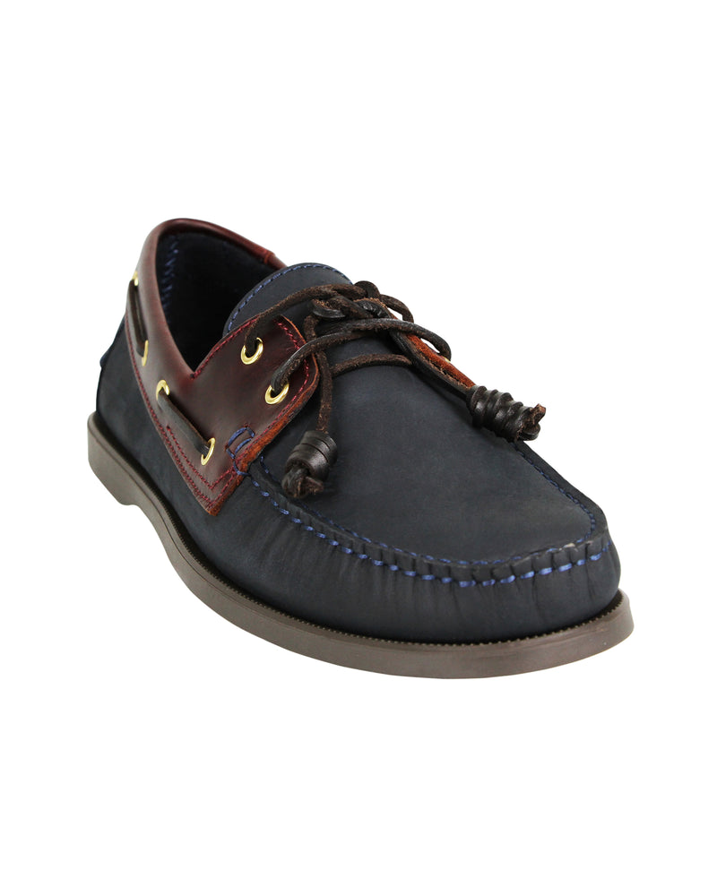 Load image into Gallery viewer, Tomaz C328 Leather Boat Shoes (Navy/Wine)