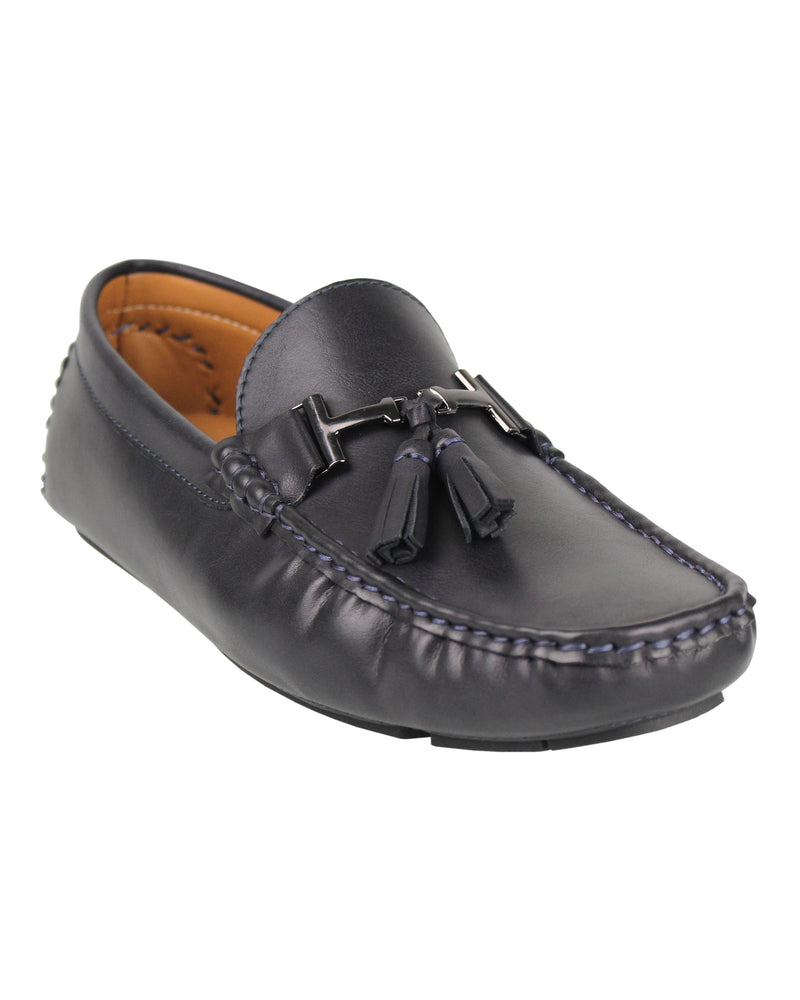Load image into Gallery viewer, Tomaz C004B Buckled Tassel Moccasins (Navy)