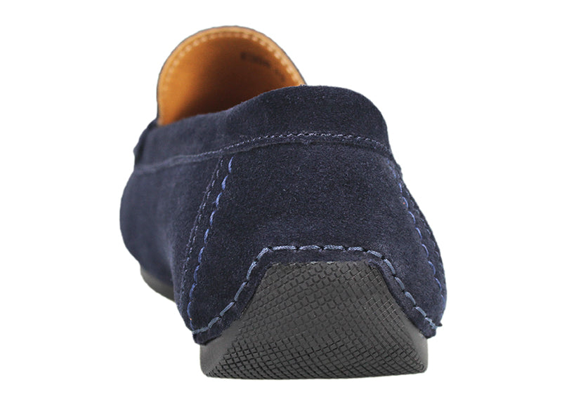 Load image into Gallery viewer, Tomaz C338 Front Buckled Suede Loafers (Navy) - Tomaz Shoes (791574544473)