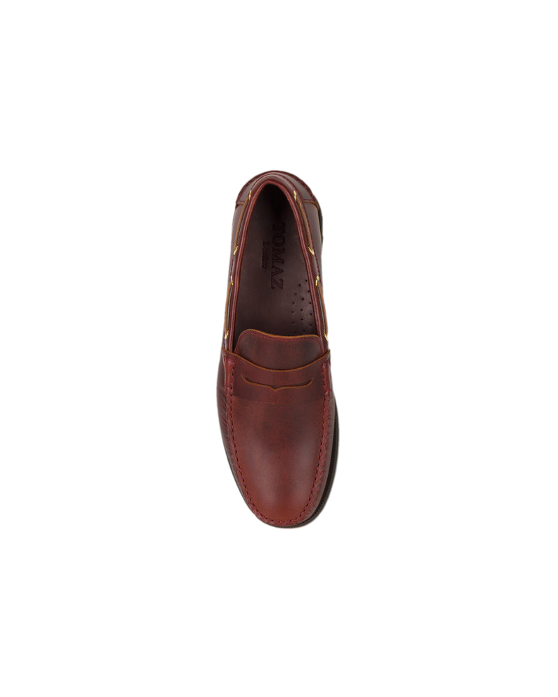 Load image into Gallery viewer, Tomaz C329 Leather Penny Loafers (Wine)