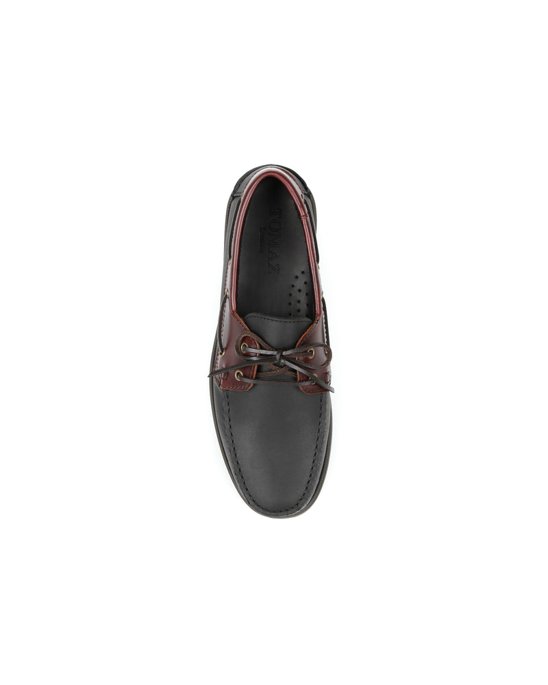 Load image into Gallery viewer, Tomaz C328A Leather Boat Shoes (Black)