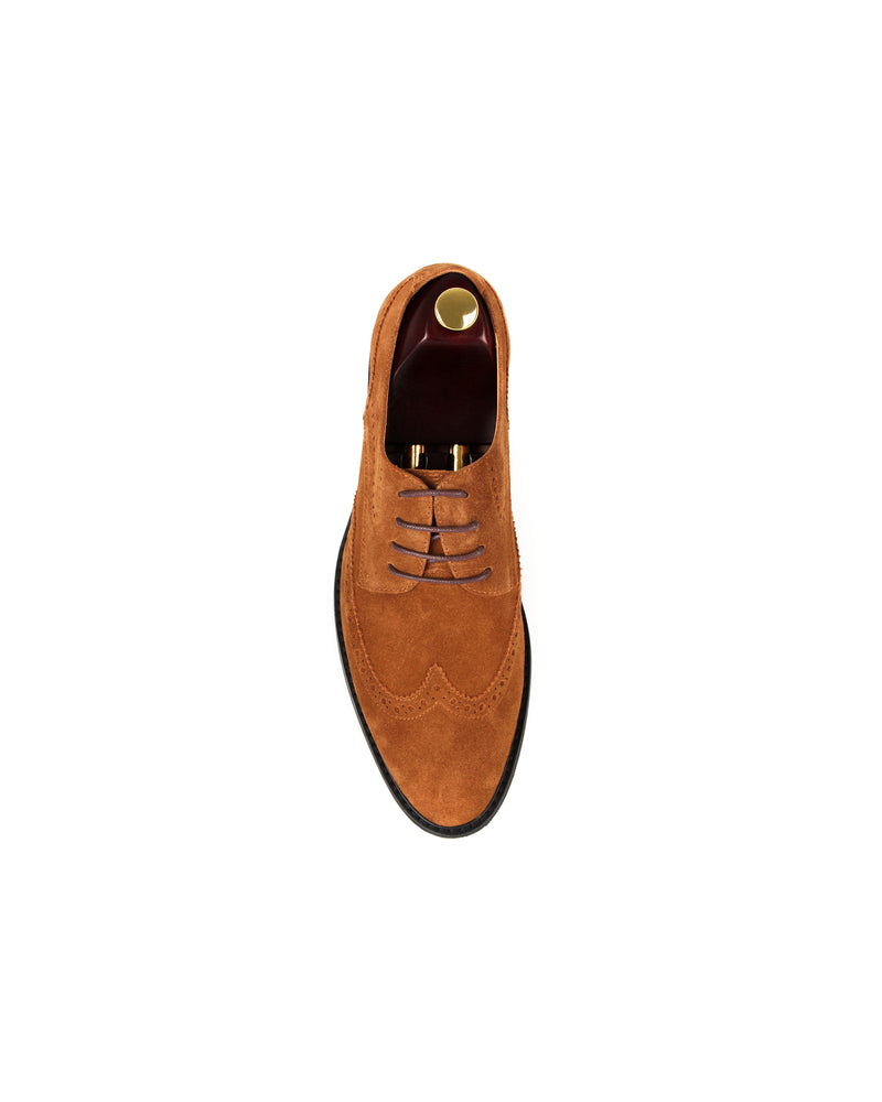 Load image into Gallery viewer, Tomaz F225 Wingtip Brogue Suede Loafers (Brown)
