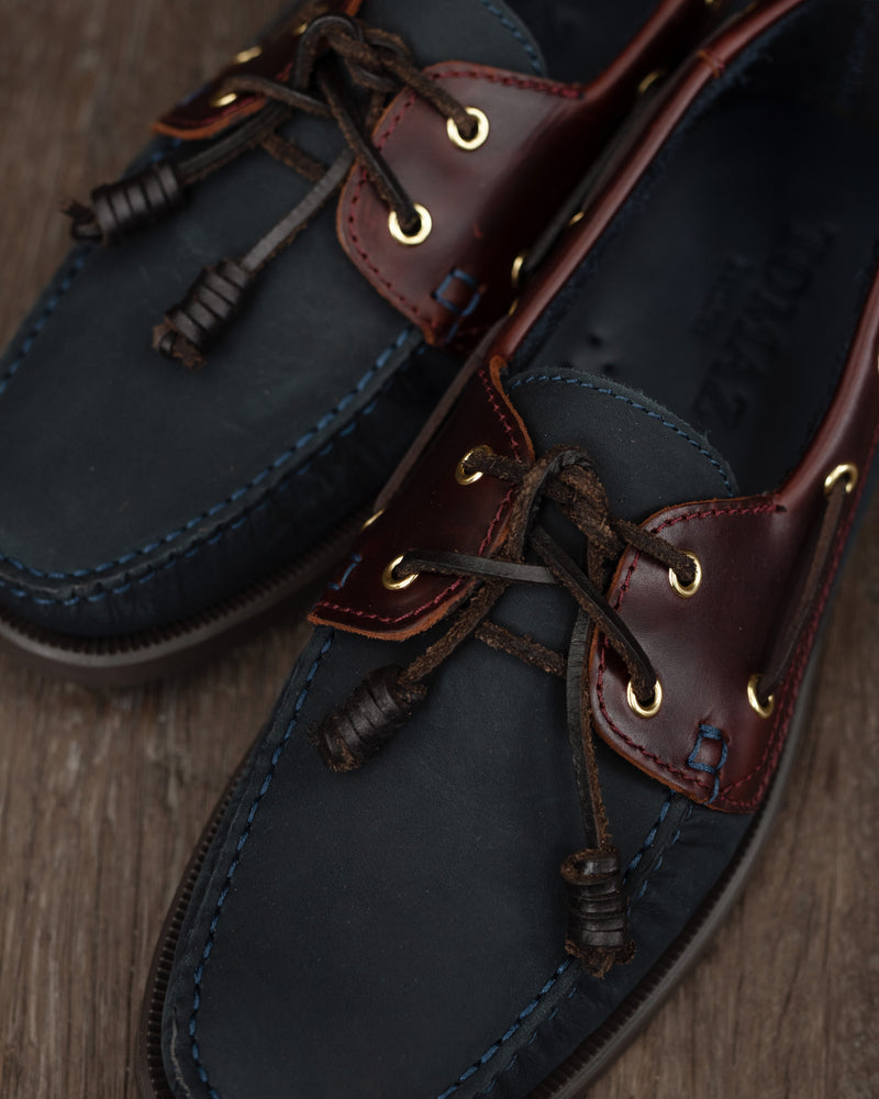Load image into Gallery viewer, Tomaz C328 Leather Boat Shoes (Navy/Wine) (1884581068896)