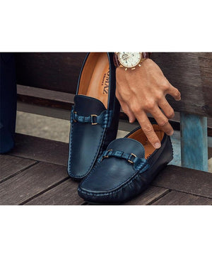 Load image into Gallery viewer, Tomaz C299 Buckle Moccasins (Navy) (439528161309)