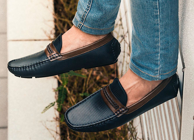 529e7ef28ab Tomaz C324 Braided Strap Loafers (Navy) - Tomaz Shoes