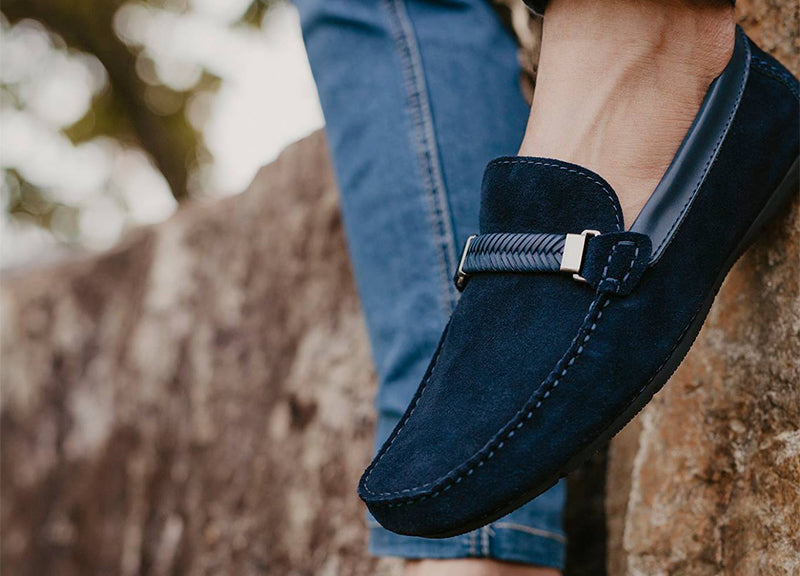 Load image into Gallery viewer, Tomaz C337 Braided Buckled Loafers (Navy) - Tomaz Shoes (791337402457)