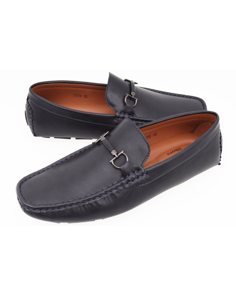 Load image into Gallery viewer, Tomaz C473 Metal Buckle Moccasins (Navy) men's shoes casual, men's dress shoes, discount men's shoes, shoe stores, mens shoes casual, men's casual loafers men's loafers sale, men's dress loafers, shoe store near me.