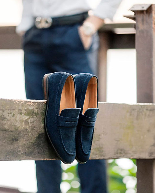 Load image into Gallery viewer, Tomaz F132 Penny Loafers (Navy) (10718610888)