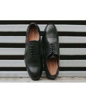 Tomaz F211 Brogue Oxford Lace Up (Black) (1896366407776)
