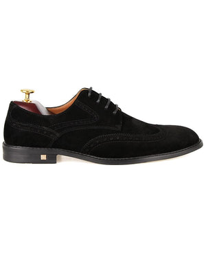 Tomaz F225 Wingtip Brogue Suede Loafers (Black)
