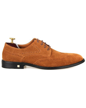 Tomaz F225 Wingtip Brogue Suede Loafers (Brown)