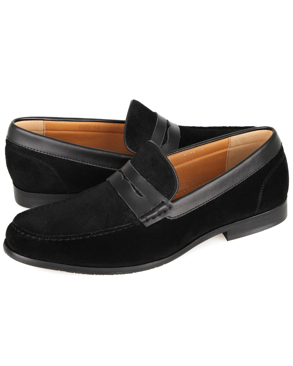 Tomaz F235 Suede Penny Loafers (Black)