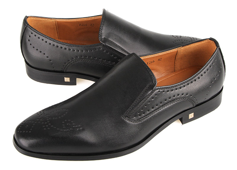 Load image into Gallery viewer, Tomaz F266 Formal Perforated Slip On (Black) (4183378755680)